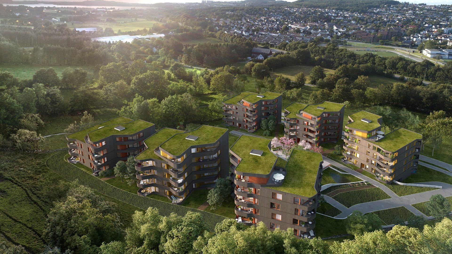 3D-illustrasjon fra Husene i Skogen på Jåttå i Stavanger